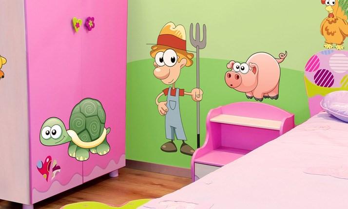 Stickers murali bambini cameretta animali della fattoria - Adesivi murali camerette bambini ...